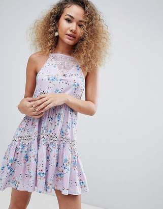 En Creme sleeveless floral mini dress-Purple