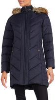 Larry Levine Faux Fur Hooded Down Coat