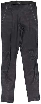 Theory Navy Leather Trousers