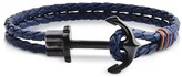 Forzieri Dark Blue Leather Men's Bracelet w/Black Anchor