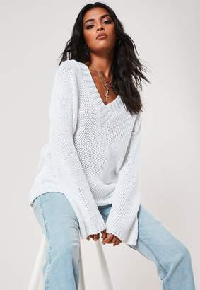 Missguided White V Neck Wide Sleeve Knitted Jumper