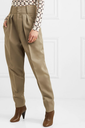 Isabel Marant Durneri Pleated Wool-twill Tapered Pants - Army green