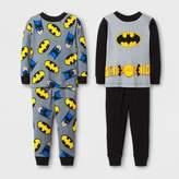 Batman Baby Boys' 4-Piece Cotton Pajama Set- Black