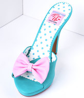 Pleaser USA Teal & Blush Pink Bow Faux Leather Siren Peep Toe Heels