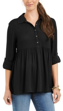 Style&Co. Style & Co Roll-Sleeve Oversized Shirt, Created for Macy's
