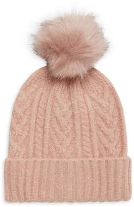 MARCUS ADLER Faux Fur Pom-Pom Cable-Knit Beanie