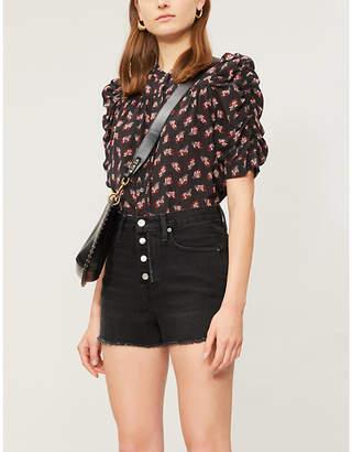 Frame Puffed-sleeve floral silk top