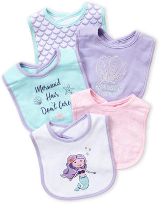 Hudson Baby Newborn Girls) 5-Pack Mermaid Baby Bibs