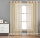 "HLC.ME 2 Piece Sheer Window Curtain Grommet Panels (Beige) - 84"" Inch Long"