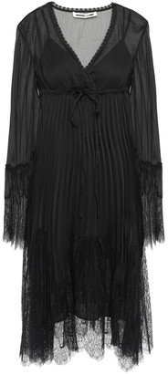 McQ Wrap-effect Lace-trimmed Crepon Dress