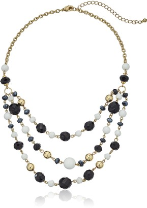 "1928 Jewelry Gold-Tone Black and White Crystal Beaded 3-Strand Adjustable Necklace 16"" + 3"" Extender"