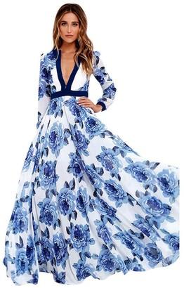 Homebaby   Maxi Dress HOMEBABY Women Floral Printed Chiffon Maxi Dress - Ladies Flower Boho Summer Casual Dress Vintage Elegant Formal Evening Party Spring Beach Long Dresses Sundress (M