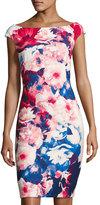 Jax Boat-Neck Floral-Print Sheath Dress, Red Pattern