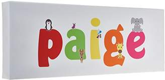 Paige Feel Good Art Gallery Wrapped Nursery Box Canvas with Solid Front Panel Rectangle Design Cute Illustrations and Personalised with Girl's Name (15 x 42 x 4 cm, Small,