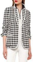 Akris Houndstooth One-Button Blazer, Black/Moonstone