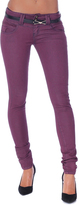 Missy Empire Hana Wine Low Rise Skinny Belted Jeans