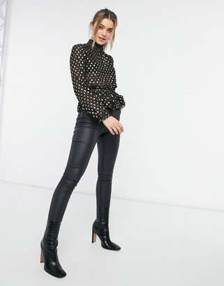 Pimkie gather detail blouse with gold spots in black