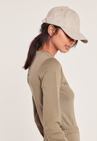 Missguided Grey Faux Suede Baseball Cap