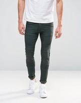 Asos Super Skinny Jeans In Biker Style Khaki