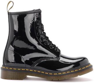 Dr. Martens Model 1460 Amphibious Boot In Black Paint Leather