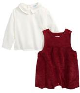 Luli & Me Infant Boy's Shirt & Corduroy Overalls Set