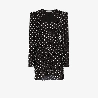Alessandra Rich Polka Dot Ruched Silk Mini Dress