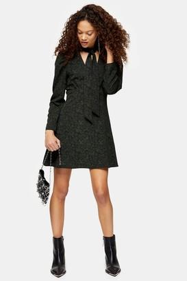 Topshop PETITE Khaki Archive Print Tie Neck Mini Dress