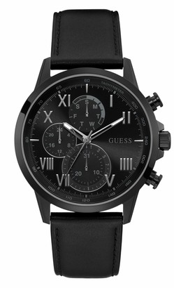 GUESS Men's Stainless Steel Analog Watch with Leather Calfskin Strap