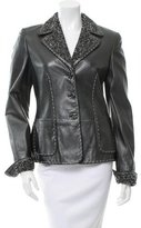 Escada Leather Tweed-Trimmed Jacket w/ Tags