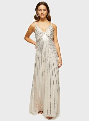 Miss Selfridge PETITE Beige Embellished Swing Maxi Dress