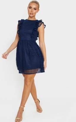 PrettyLittleThing Burgundy Lace Frill Detail Skater Dress