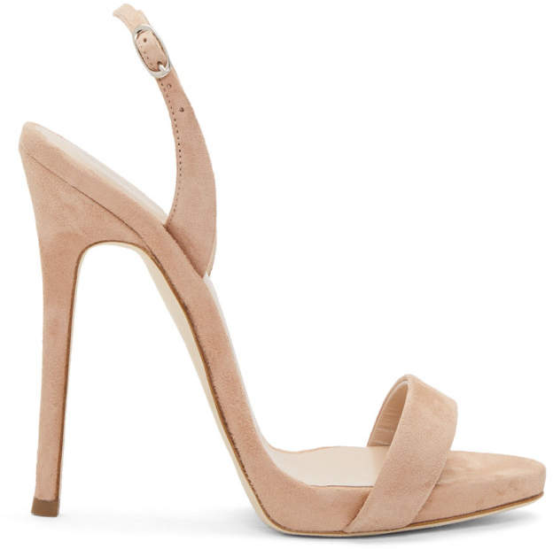 Giuseppe Zanotti Pink Suede Coline Plunge Sandals
