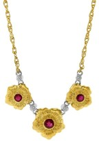 Buccellati 18K Two Tone Gold Three Flower Ruby Necklace