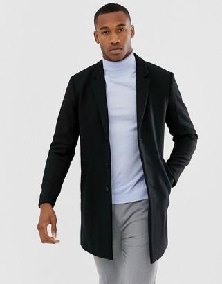 Jack and Jones wool overcoat in black