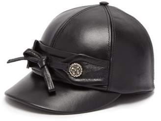 Miu Miu Bow Leather Cap - Womens - Black