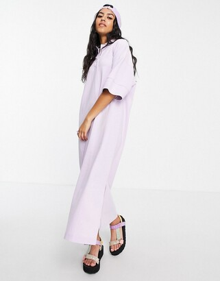 Monki Jonna organic cotton midi polo dress in lilac