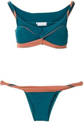 BRIGITTE Front Twist Color Block Bikini Set