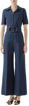 Gucci Short Sleeve GG Belt Cady Crepe Jumpsuit