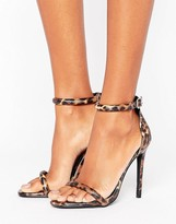 Missguided Leopard Print Barely There Heeled Sandal