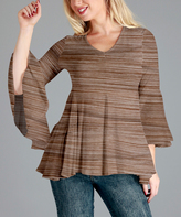 Aster Mocha Bell-Sleeve Swing Tunic - Plus Too