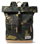 Eastpak Macnee Leather-trimmed Camouflage-print Canvas Backpack - Army green