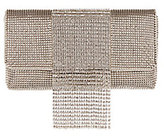 Whiting & Davis Mesh Crystal Fringe Pewter Clutch