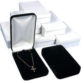FindingKing 6 Black Velvet Necklace Boxes Gift Showcase Displays