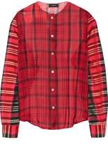 Joseph Asher Checked Silk-Organza And Satin-Twill Shirt