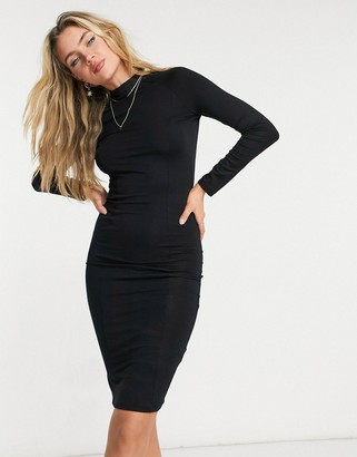 ASOS DESIGN long sleeve sexy back midi dress in black