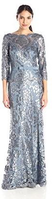 Tadashi Shoji Women's Sequin Lace Gown-3/4 SLV & Ribbon Belt