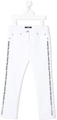Balmain Kids Straight Fit Side Stripe Jeans