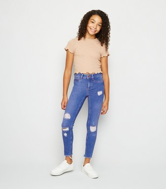New Look Girls Bright Ripped High Waist Super Skinny Jeans