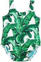 Dolce & Gabbana Banana-Leaf-Print Swimsuit-GREEN