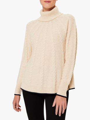 Hobbs Demi Cable Knit Jumper, Oatmeal/Navy